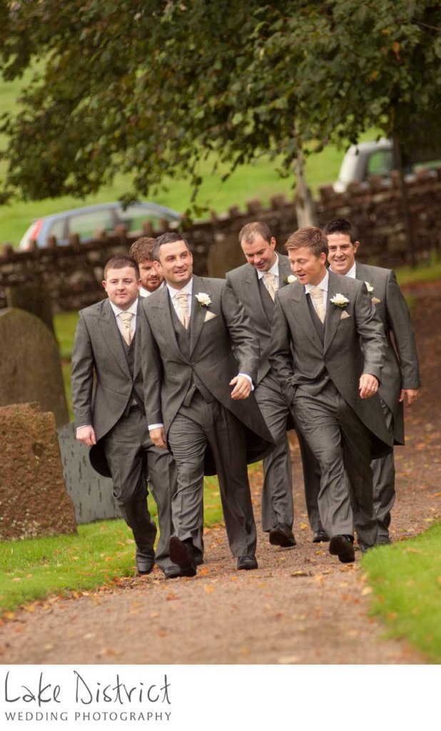 Ushers arriving at wedding