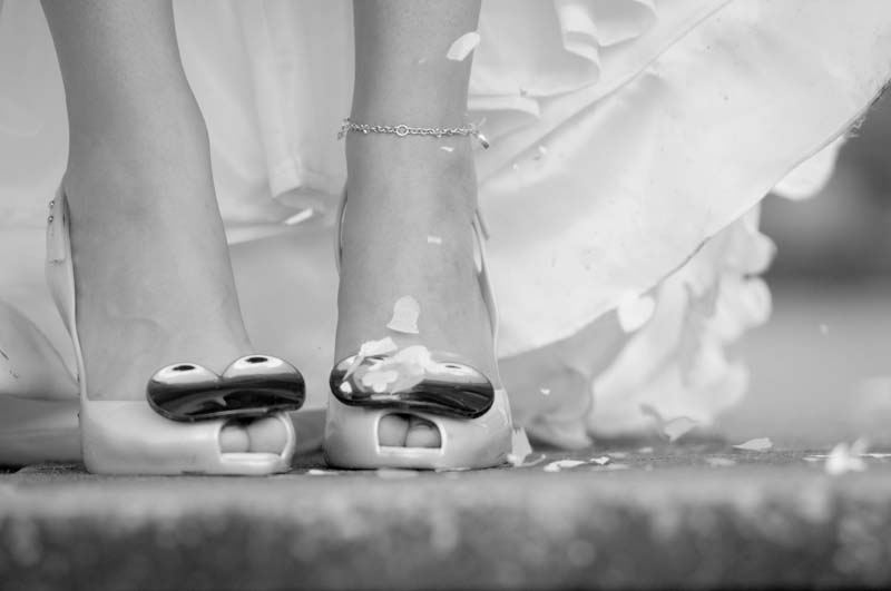 confetti on bridal shoes, glenridding
