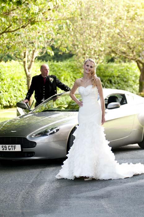 Sports car wedding Lake District