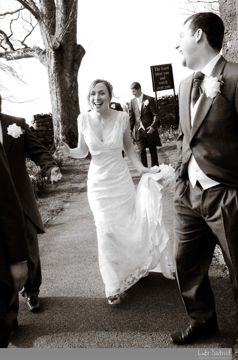 Laughing bride on her wedding day.