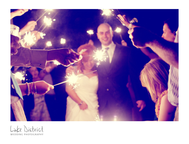 Sparkler image of bride and groom.