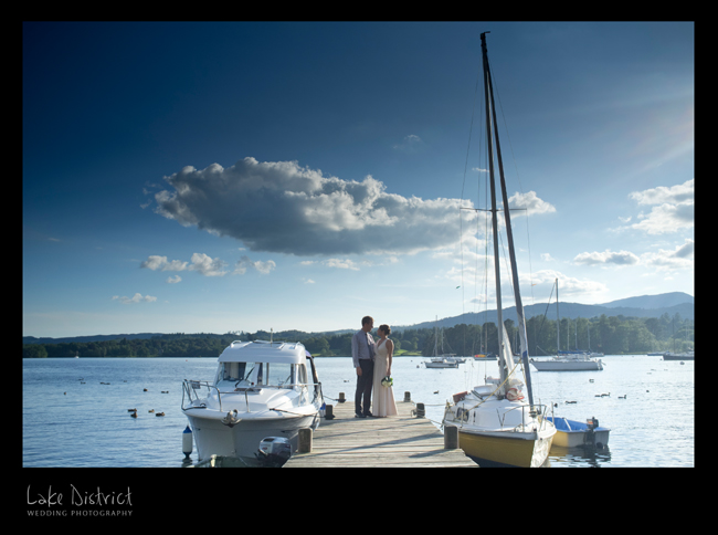 Bride and groom outside the waterhead hotel