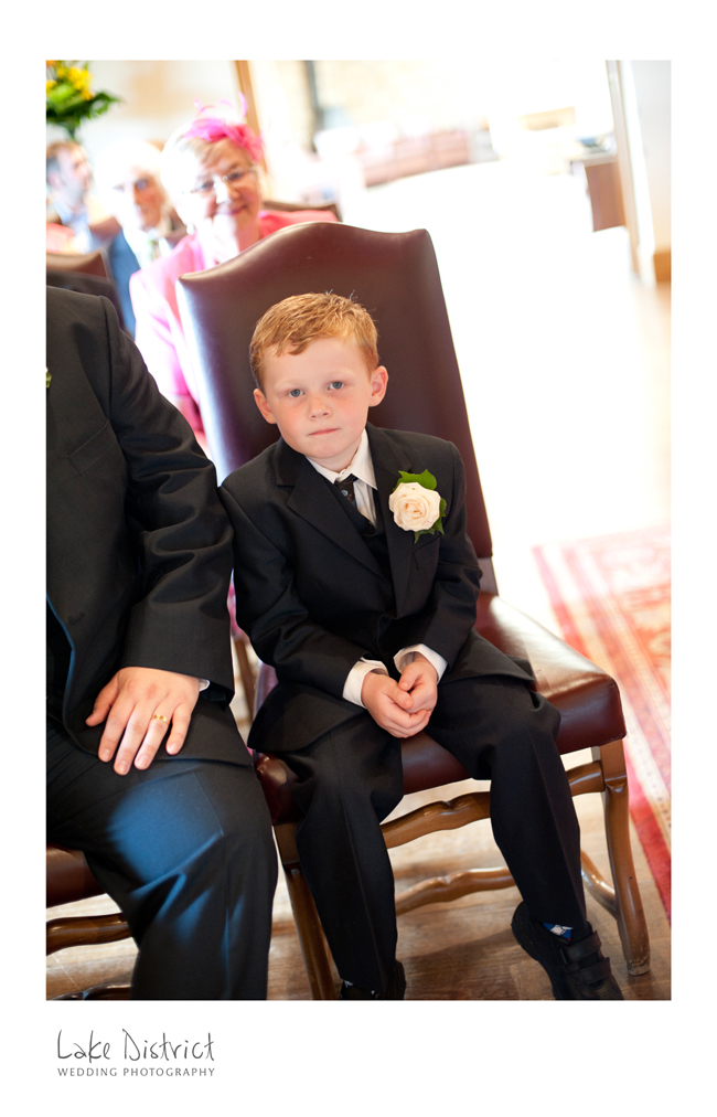 Page boy at a civil partnership in Penrith.