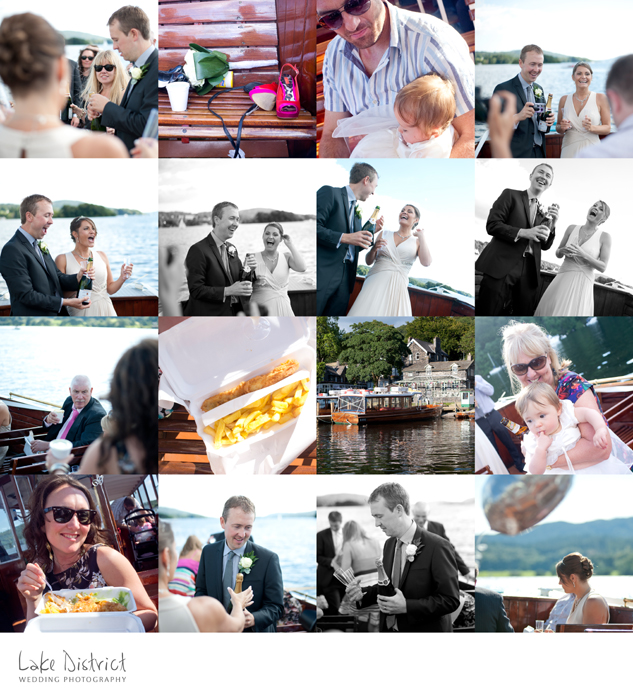 A great addition to a wedding for a meal is fish and chips on a boat!
