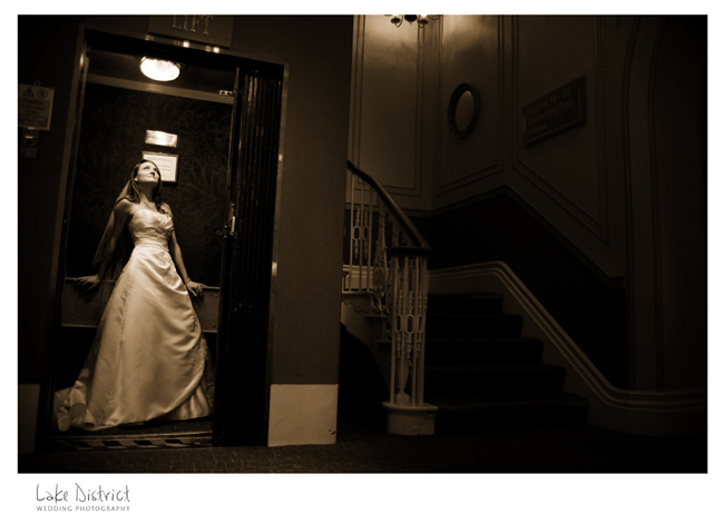 lift and bride in a lakes hotel.