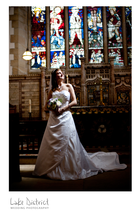 nipping back into the church for a few bridal photographs