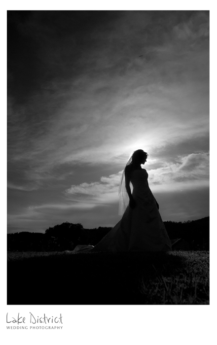 bridal silouette in the lakes