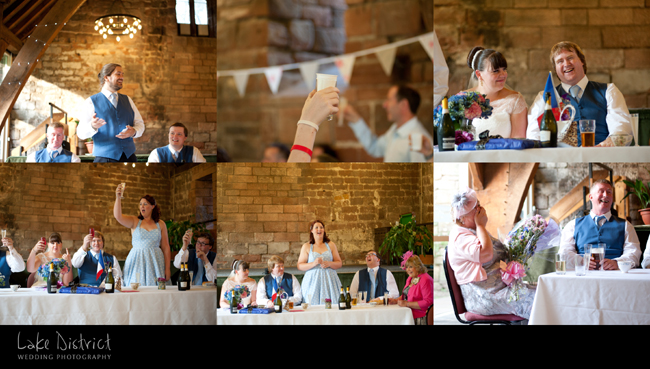 wedding speeches at the Tithe Barn, Cumbria.