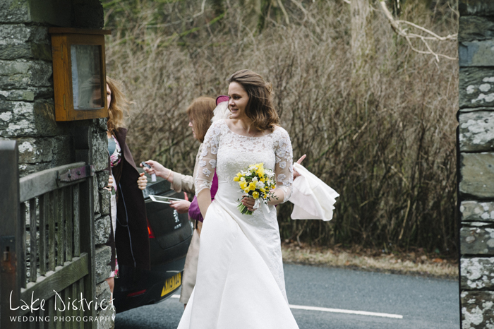 Bride arrives at Jesus church, Troutbeck